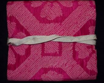 Vintage Japanese Nagoya Obi Belt and Obijime Set - Magenta Shibori Floral