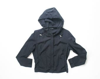 90s Express Black Jacket Windbreaker Sporty Health Goth Athleisure Trainer Track Jacket Zip Up 1990s Soft Grunge Hoodie Athletic Top Medium