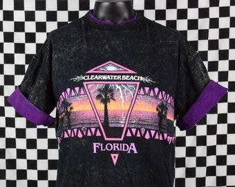 Vintage 80s tee shirt FLORIDA / Clearwater Beach / Roll Up Sleeves / 90s Fashion / Florida Pride / Palm Tree / Beach tshirt / XL, XLarge