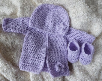 Crochet  lilac baby cardigan, hat and booties.