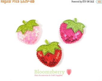 "ON SALE 20% OFF 1.5"" Sequin Strawberries Padded/Appliques - Pink, Red and Hot Pink - Sequin Appliques - Embroidered Sequin - Strawberries Pa"
