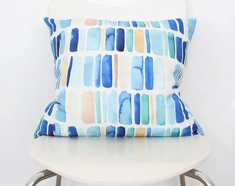 Vertical Stripes in Blue- Watercolor Throw Pillow
