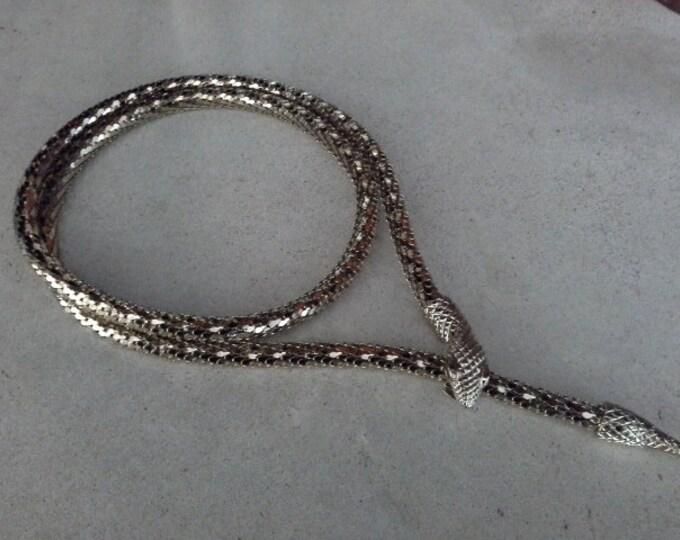 Vintage Whiting & Davis Gold Mod Mesh Snake Necklace or Belt 38 Inch Long 1970's