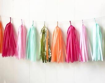 Free Shipping - Orange Pink Mint - Tassel Garland -  Party Decor - Bridal Shower - Nursery Decor - Photo Prop