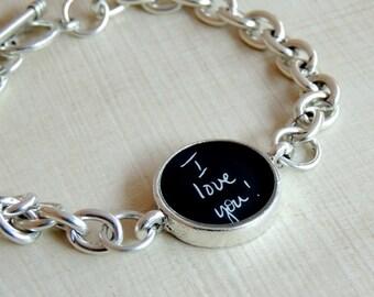 Personalized Handwriting Bracelet, Memorial Signature Jewelry, Actual Handwriting, Custom Signature Bracelet, Personalized Handwriting Gift