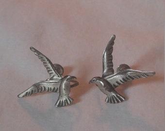 vintage seagull screwback earrings sterling silver earrings