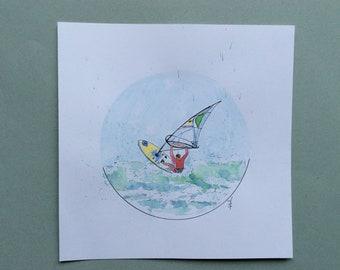 """Windsurfing"" original watercolor sketch, windsurfing"
