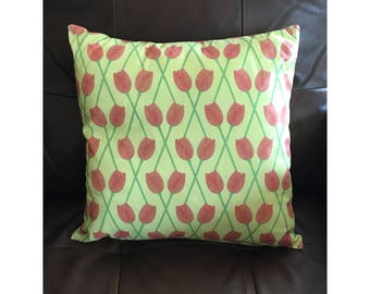 Yellow and Pink Tulip Pillow
