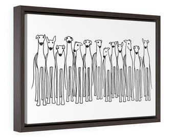Greyhound Print, Greyhound Art, Greyhound Gift, Whippet Art, Cute Greyhounds, Gift for Greyhound Lover, Canvas Print, Framed Greyhound Art
