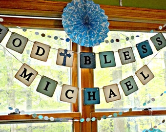 First Communion Banner-Baptism Decorations-Boys Christening Banner- Custom First Communion Banner-Boys 1st Communion Sign-God Bless Banner