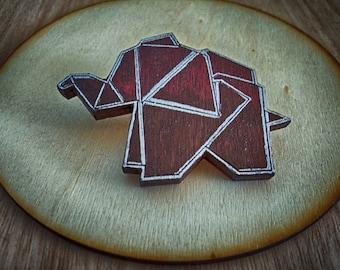 Origami elephant brooch-Wooden broch-Hand painted brooch-Laser cut brooch-Wood jewellery-Wood laser cut elephant-Origami wood brooch