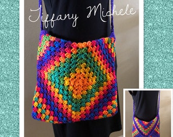 Colorful Rainbow Purse Cross-Body Bag / Satchel / Handmade /Crochet