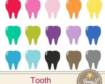 50% OFF Tooth Clipart for Planners, Digital Scrapbooking, Invitations, cupcake toppers, Stickers, Labels
