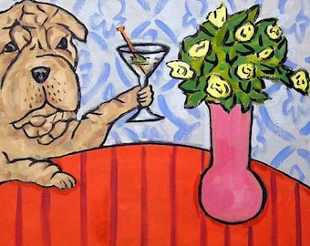 25% off Shar Pei at the Martini Bar Dog Art Tile