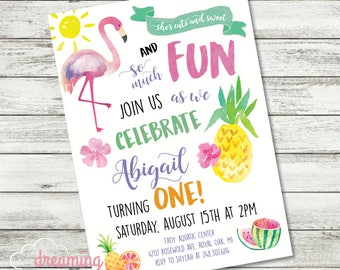 Flamingo and Pineapple SWEET and FUN First Birthday Invitation