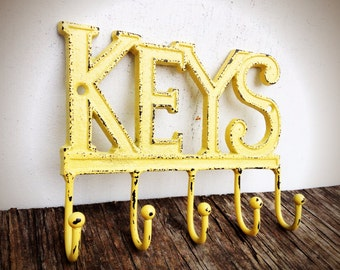 Key Rack Wall Hook / Entryway Wall Hooks / Rustic Key Hook / Yellow New Home Gift / Entryway Organizer / Hostess Gift / Housewarming Gift