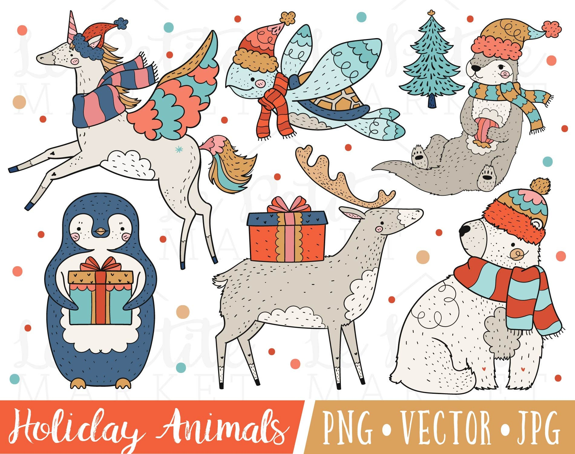 Festive Holiday Animal Clipart Images Christmas Illustrations