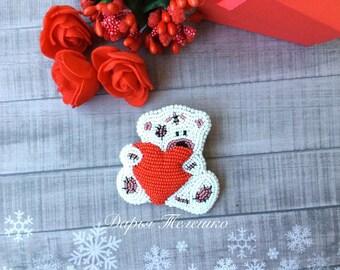 Valentines gifts, teddy bear brooch, beaded brooch, sweet bear, beadwork brooch, loved bear brooch, exclusive jewelry, beautifull brooch