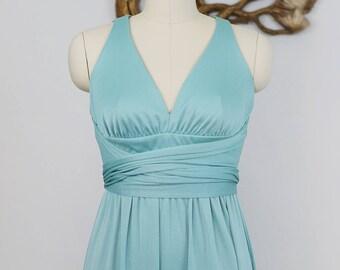 Vintage 1970's Polyester Aqua Maxi Dress with Key Hole Back