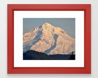 Framed Photo Print, Mount Hood Oregon, Mountain Photography, Landscape Photo Print, Twilight, Winter Home Decor, Northwest Decor, Snow Scene