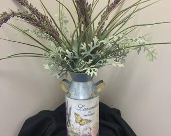 Lavender Artificial Arrangement, Lavender Tin Arrangement, Butterfly Tin, Herb Tin, Entry Way, Housewarming Gift, Gift, Floral