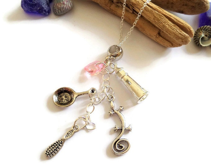 princess rapunzel necklace, princess gift, princess jewelery, princess favors, princess party, tangled gift, tangled jewelery