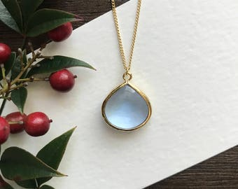 Teardrop Periwinkle blue necklace, bridesmaid necklace, Birthday Gift, Valentines Gift, Stocking Stuffer