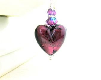 Purple Heart Earrings, Valentine's Day Earrings, Murano Glass Earrings, Amethyst Venetian Earrings, Dark Purple Earrings, Heart Jewelry