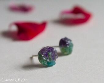 Amethyst Aventurine stud earrings Rough Gemstone stud earrings Dark purple and green post stud earring