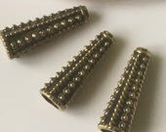 2 aged 3 cm gold metal cone bead caps