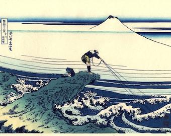 "Japanese Ukiyo-e Woodblock print, Hokusai, ""Thirty-six Views of Mount Fuji, Kajikazawa in Kai Province"""