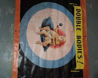 "Vintage Style  Freakshow Sideshow Freak Show Carnival Circus vinyl Banner  5 feet wide!   ""Double Bodies"""