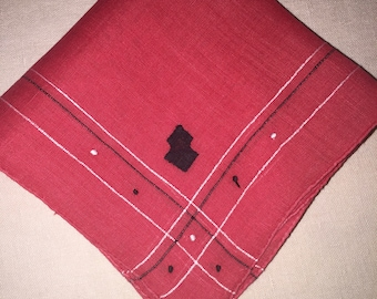 Vintage Red and Black Handkerchief Hankie