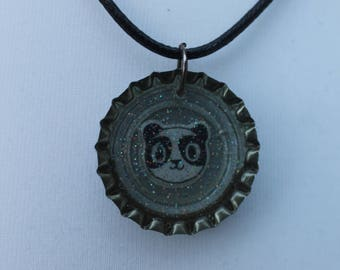Cartoon Panda bottle cap necklace