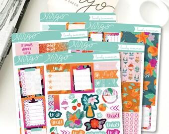 Vertical Kit - Lovely Summer 6 Sheet Planner Stickers Kit - Summer floral sticker kit - Summer Vacation - Glossy, Matte Stickers LSKV