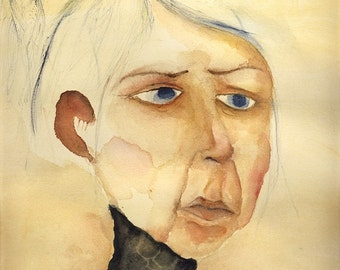 Watercolor Painting Portrait Fine Art Giclee Print woman face eyes sepia warm colors
