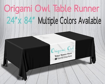 Origami Owl Printed Table Runner - Custom Logo Table Runner - Trade show Pop Up Party - Table Cloth