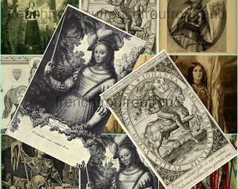 antique saint joan of arc collage sheet DIGITAL DOWNLOAD