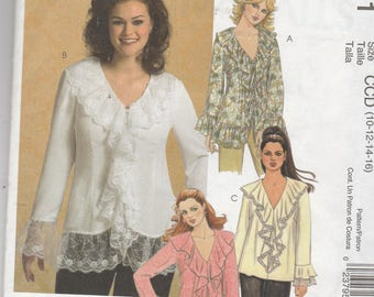 McCalls 5281 Vintage Pattern Womens Loose Fitting Blouse In 4 Variations Size 10,12,14,16 UNCUT