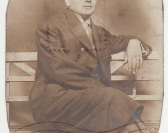 1930's Photograph, Man With Bowler on a bench
