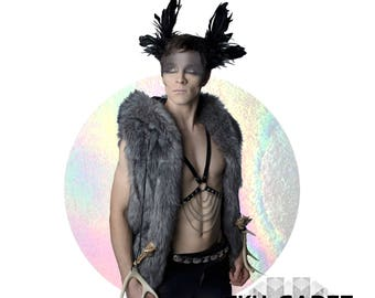 Body Harness, Body Chain, vegan clothing, Steampunk Clothing, burning man, black, harness bra, gothic, bohemian, wanderlust, sexy, leather