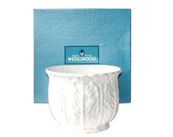 Wedgwood Countryware Cachepot Planter Boxed | Embossed English White China, 5-Inch Countryware Flower Pot, Jardinere w/ Original Packaging