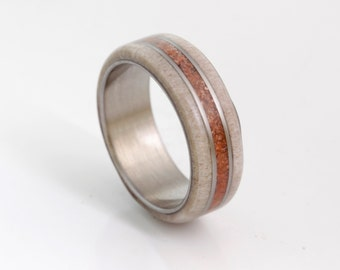 wedding band titanium wood antler mens wedding by aboutjewelry