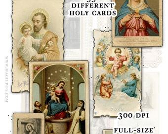 Catholic Holy Cards Digital Download Set B -- 55 images for digital collage and crafts