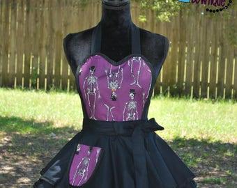 Top Hat Skeletons Retro Apron