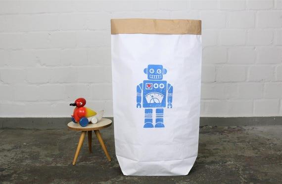 Paper Sack Paperbag * Robbie * Robot print