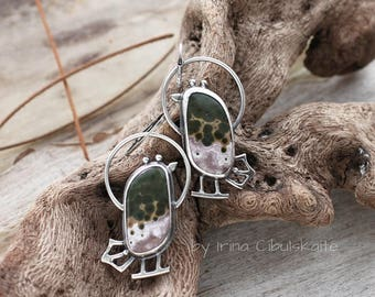 Sterling silver Earrings - Two Little Birds - handmade earrings with ocen jasper