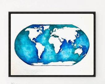 Globe, World Map art, Watercolor map, Globe print, Kids wall art, Globe art, Watercolor Print, Nursery gifts, Kids room decor, Map art gift