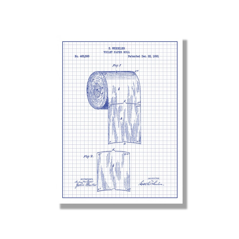Toilet paper novelty patent poster blueprint style screen zoom malvernweather Choice Image
