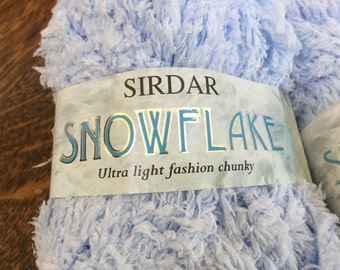 Sirdar Yarn, Snowflake, Ultra Light Chunky, Chenille Texture, 4 Skeins, 50 grams ea, Baby Blue And White, Made in England, Unused With Tags